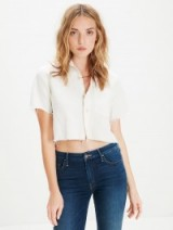 MOTHER Frenchie Crop Fray Dove White / cropped shirts / frayed tops / casual fashion