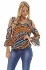 AX Paris MULTI COLOURED STRIPED CHIFFON TOP – summer tops – cold shoulder blouses