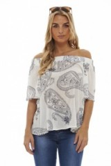 AX Paris PAISLEY PRINT OFF SHOULDER TOP WHITE – summer tops – off the shoulder blouses – feminine style fashion