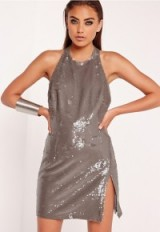 Missguided peace + love sequin high neck mini dress grey – shimmering party dresses – going out glamour – evening fashion – sequins