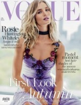 Rosie Huntington-Whiteley for Vogue Thailand July Issue wearing a GUCCI silk chiffon embroidered gown in pale lavender. Celebrity fashion | star style | front cover photoshoots | models on front covers | designer gowns