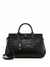Saint Laurent Monogram Cabas Small Crocodile-Embossed Leather Satchel in black – in the style of model Hailey Baldwin out in New York, 21 June 2016. Celebrity bags   designer handbags   luxe accessories   star style   top handle
