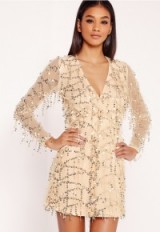 Missguided sequin mini dress gold – embellished party dresses – sequins – going out glamour – glamorous evening fashion – luxe style