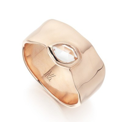 Monica Vinader Siren Wide Band 18ct Rose Gold Plated Vermeil on Sterling Silver. White topaz | modern style jewellery | gemstone rings - flipped