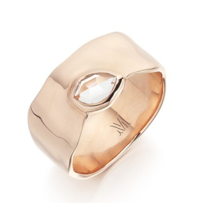 Monica Vinader Siren Wide Band 18ct Rose Gold Plated Vermeil on Sterling Silver. White topaz | modern style jewellery | gemstone rings