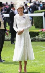 Catherine Duchess of Cambridge looked beautiful in this white Dolce & Gabbana lace dress at Ascot ~ Kate Middleton dresses ~ royal fashion ~ outfits ~ hats
