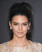 Kendall Jenner wearing her hair up in high ponytail ~ celebrity hairstyles ~ makeup ~ star style beauty