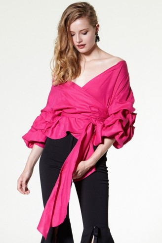 STORETS Vivian Ruched Sleeve Blouse in fuchsia. Hot pink blouses | romantic style tops | ruffled detail | wrap tops | feminine