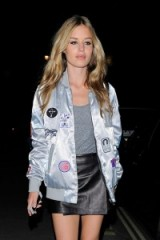 Georgia May Jagger silver metallic bomber jacket. Casual celebrity jackets | star style fashion