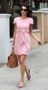 Amal Clooney street style ~ little pink shift dress ~ stylish outfits ~ women with style ~ chic look