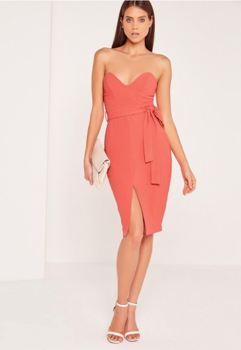 missguided bandeau tie waist midi dress in pink – strapless going out dresses – party glamour – glamorous evening fashion – fitted