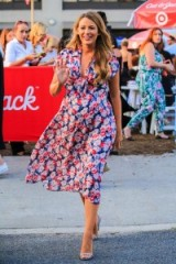 Blake Lively attends the Target Cat And Jack brand event in New York, wearing a floral print Lindsey Thornburg open midriff Clark dress and barely there high heel sandals, 21 July 2016. Celebrity fashion   star style outfits   summer dresses