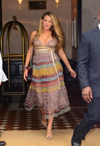 Blake Lively's pregnancy style wearing a sheer embroidered Valentino dress and embellished t-strap high heels – Blake Lively fashion – celebrity maternity outfits – star style dresses