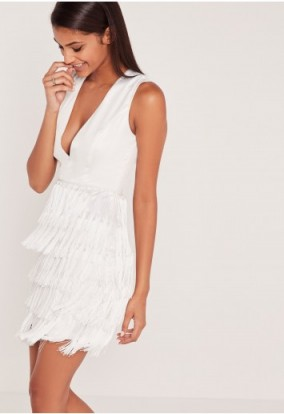 carli bybel x missguided fringed tassel detail bodycon dress in white – plunge front party dresses – deep v neckline – going out glamour – evening fashion – tasseled