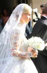 Nicky Hilton in Valentino leaves Claridge's Hotel in London ahead of her wedding to James Rothschild, July 2015 – celebrity wedding dresses – bridal gowns