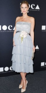 Nicky Hilton's red carpet pregnancy style at the MOCA Gala in May 2016 – pale blue strapless Altelier Versace dress with a ruffle tiered skirt and white flower corsage at the waist – Celebrity dresses – event fashion – maternity outfits – Nicky Hilton style