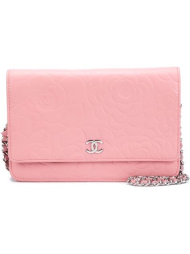 CHANEL VINTAGE embossed camellia wallet crossbody bag…such a pretty little bag! / designer accessories / luxe bags / pink handbags / chic style