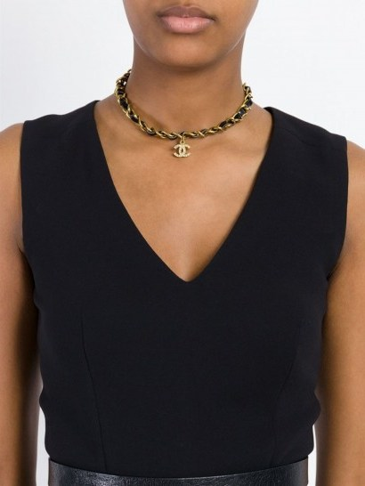 CHANEL VINTAGE logo chain necklace / luxe accessories / designer fashion jewellery / choker style necklaces / gold tone & black leather / statement jewelry - flipped