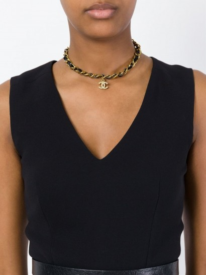 CHANEL VINTAGE logo chain necklace / luxe accessories / designer fashion jewellery / choker style necklaces / gold tone & black leather / statement jewelry