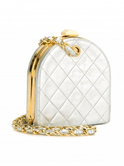 CHANEL VINTAGE quilted metallic clutch / designer luxe / small silver bags - flipped