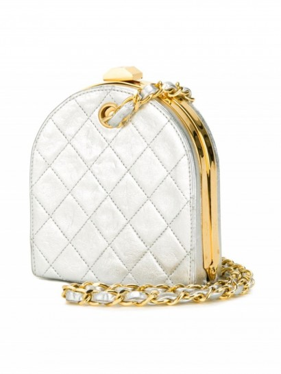 CHANEL VINTAGE quilted metallic clutch / designer luxe / small silver bags