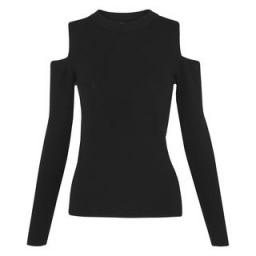 Whistles ~ Cold Shoulder Knit black. Knitwear | open shoulder sweaters | chic jumpers | knitted fashion | stylish knits