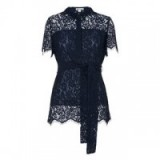 Whistles Fraia Lace Shirt navy. Blue semi sheer shirts | occasion tops | feminine tie waist blouses