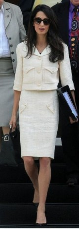 Amal ~ chic outfit ~ cream suit ~ fashion ~ style