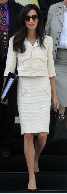 Amal ~ chic outfit ~ cream suit ~ fashion ~ style - flipped