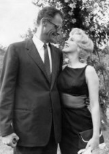 Marilyn & husband Arthur Miller look so happy together in this shot….fitted dress with sheer wide panel at the waist, white gloves & clutch bag…..vintage fashion, style & beauty