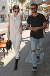Kendall Jenner and Scott Disick out at Il Pastaio in Beverly Hills. Celebrity street style | casual star fashion | models off duty