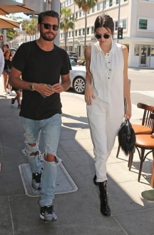 Kendall Jenner and Scott Disick out at Il Pastaio in Beverly Hills. Celebrity street style | casual star fashion | models off duty - flipped
