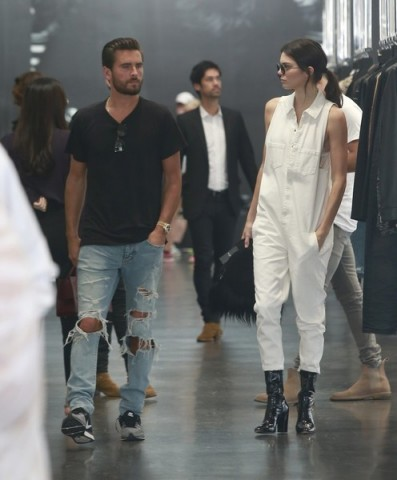Scott Disick and Kendall Jenner out together in Beverly Hills California, 2 July 2016. casual star style | celebrity fashion | models off duty | denim outfits