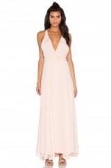 KENDALL + KYLIE RUFFLE WRAPPED MAXI DRESS soft pink. Plunge front   long summer dresses   uneven hem   deep V neckline   plunging necklines