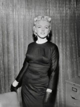 Marilyn looking stunning in this fitted dress, gloves & pearl drop earrings…vintage fashion, style & beauty