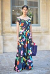 Summer street style – chic outfits – colourful bold prints – off the shoulder maxi dresses