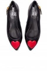 LOVE MOSCHINO HEART FLAT black. Designer flats   red hearts   side zip detail   flat shoes