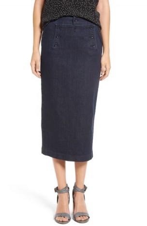 Madewell Denim Pencil Skirt ~ dark denim midi skirts ~ stylish fashion