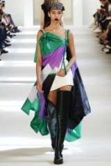 Maison Margiela Haute Couture Fall/Winter 2016 at Paris fashion week, July 2016 – runway clothing – thigh high boots – unconventional outfits | modern designs | green & purple