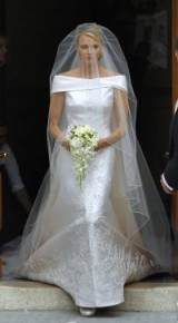 Charlene Wittstock married Prince Albert Il in this Armani Privé off the shoulder gown and became princess of Monaco in July 2011 – designer wedding dresses – designer bridal gowns – celebrity wedding dresses
