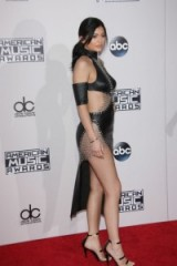 kylie jenner rocking a black leather cut out dress ~ beautiful women ~ celebrity glamour
