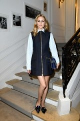 Olivia Palermo attends the Christian Dior 2016-2017 fall/winter Haute Couture fashion show in Paris, 4 July 2016. Celebrity outfits | star style | front row celebrities | pinafore dress | chic pointy flats