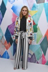 Olivia Palermo doing what she does best…mixing prints and looking fab! attending the Schiaparelli Haute Couture Fall/Winter 2016-2017 fashion show in Paris, 4 July 2016. Celebrity outfits | star style | front row celebrities | stripe trousers | bead embellished jackets | stripes