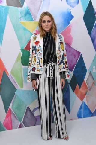 Olivia Palermo doing what she does best…mixing prints and looking fab! attending the Schiaparelli Haute Couture Fall/Winter 2016-2017 fashion show in Paris, 4 July 2016. Celebrity outfits   star style   front row celebrities   stripe trousers   bead embellished jackets   stripes - flipped