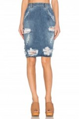 ONE TEASPOON FREELOVE SKIRT in ford. Blue denim pencil skirts   destroyed   ripped   distressed   casual weekend fashion