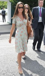 Pippa Middleton style…wearing a Suzannah floral printed tea dress and tan leather accessories. Celebrity fashion | summer outfits