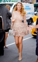 Blake Lively in a pink embellished Elie Saab mini dress – Blake Lively's pregnancy style – celebrity outfits – princess outfit – luxe fashion