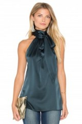 RAMY BROOK ~ PAIGE TIE NECK TANK in spruce. Chic dark green tops | sleeveless silky blouses | neck tie detail | silk blend fabric