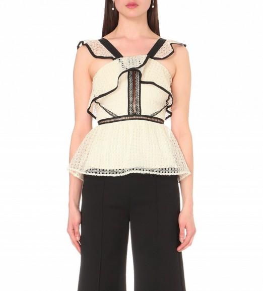 SELF-PORTRAIT Contrast flounced peplum top black/white. Occasion tops | romantic ruffles | designer fashion | semi sheer | ruffled | ruffle detail