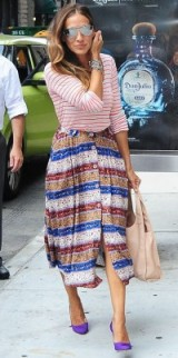 Sarah Jessica Parker mixed stripes outfit ~ SJP street style